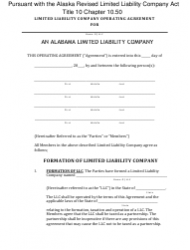 """""""Limited Liability Company Operating Agreement Template"""" - Alaska"""