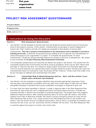 """Project Risk Assessment Questionnaire Template"""