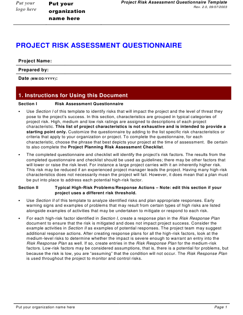 """Project Risk Assessment Questionnaire Template"" Download Pdf"