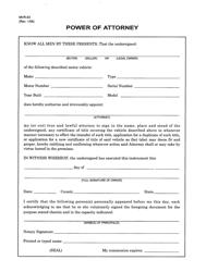 "Form MVR-63 ""Power of Attorney"" - North Carolina"