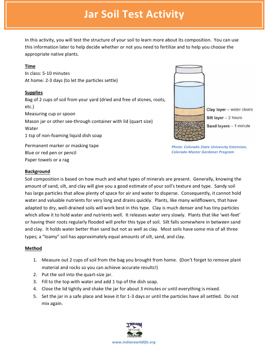"""Jar Soil Test for Kids - Indiana Wildlife Federation"" - Indiana Download Pdf"