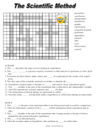 The Scientific Method Crossword Puzzle Template With Answer Key