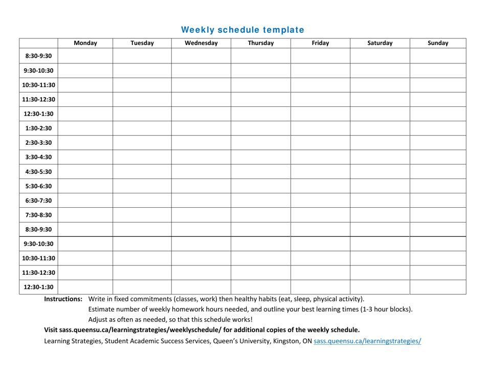 Weekly Schedule Template Queen S University Download Printable Pdf Templateroller