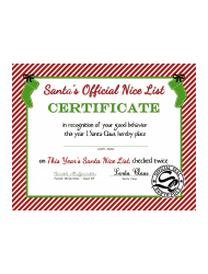 Santas Official Nice List Certificate Template