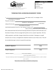 """Termination Acknowledgement Form - King County Housing Authority"" - King county, Washington"