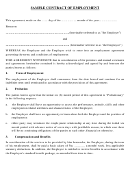 """sample Contract of Employment Template"""