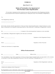 "Form 35 ""Notice of Termination of an Agreement of Hire Purchase/Lease/Hypothecation"" - Goa, India"