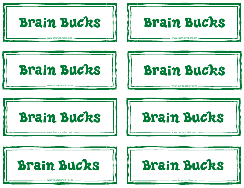 """Classroom Money Template - Brain Bucks"" Download Pdf"