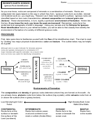 """Igneous Rock Identification Worksheet - Lawrence High School"""