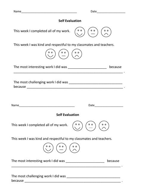 """""""Self Evaluation Form"""" Download Pdf"""