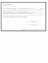 Short-Form Acknowledgment Certificate Template - Florida