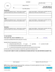 "Form 29H ""Notice of Garnishment Hearing"" - Ontario, Canada"