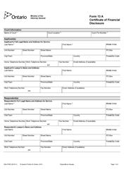 "Form 13A (004-3705E) ""Certificate of Financial Disclosure"" - Ontario, Canada"