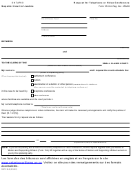"Form 1b ""Request for Telephone or Video Conference"" - Ontario, Canada"