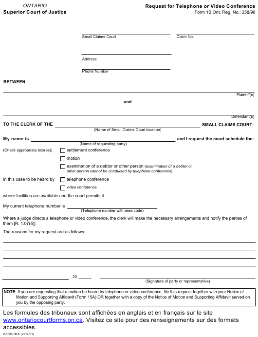 Form 1b Download Fillable PDF, Request for Telephone or Video