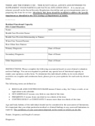 Residual Functional Capacity Form - Ssa Listed Disorders