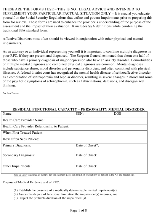 """""""Residual Functional Capacity Form - Personality Mental Disorder"""" Download Pdf"""