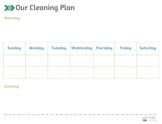 """""""Weekly Cleaning Plan Template - Just a Girl"""" Download Pdf"""