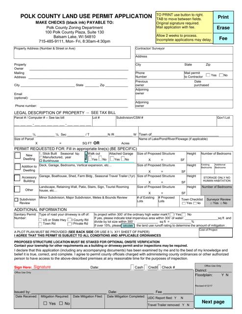 """Polk County Land Use Permit Application"" - Polk County, Wisconsin Download Pdf"