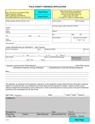 Polk County Variance Application - Polk County, Wisconsin