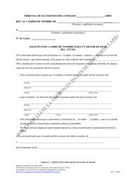 """Formulario 21.2 """"Solicitud De Cambio De Nombre Para Un Menor De Edad"""" - Ohio (Spanish)"""