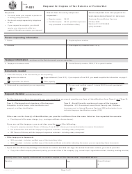 Form P-521 Request for Copies of Tax Returns or Forms W-2 - Wisconsin