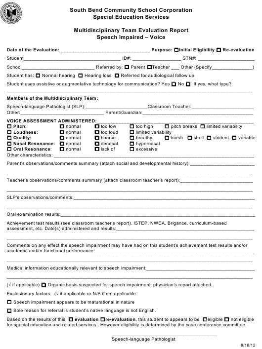 """""""Multidisciplinary Team Evaluation Report Template - Speech Impaired - Voice - South Bend Community School Corporation"""" Download Pdf"""