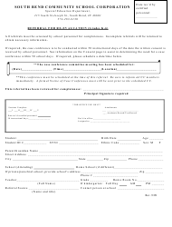 """Referral for Re-evaluation Template (Grades K-6) - South Bend Community School Corporation"""