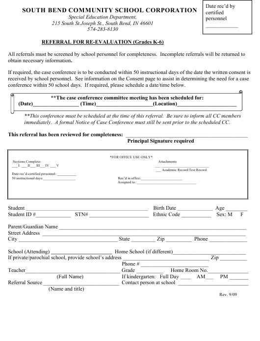 Referral for Re-evaluation Template (Grades K-6) - South Bend Community School Corporation Download Pdf