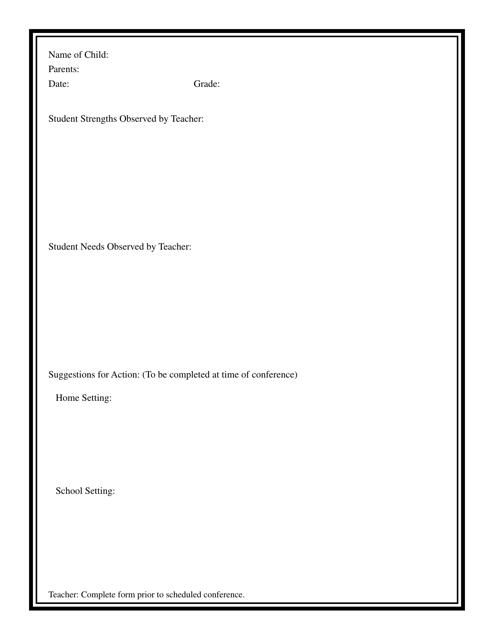 """""""Student Observation Form"""" Download Pdf"""