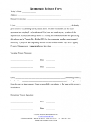 Roommate Release Form - Legerity Property Management, Inc.