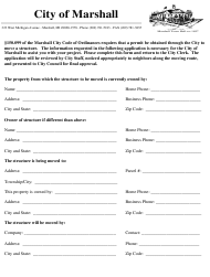"""""""Application for Moving a Structure Permission"""" - City of Marshall, Michigan"""