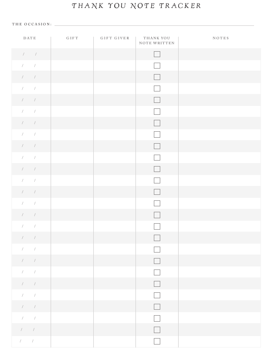 """""""Thank You Note Tracker Template"""" Download Pdf"""