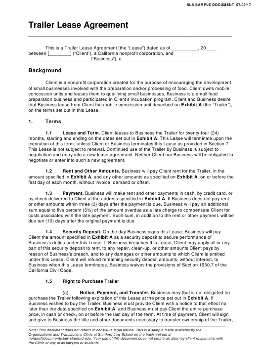 Trailer Lease Agreement Template Stanford Law School Download