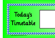 """Green Today's Timetable Classroom Schedule Template"""