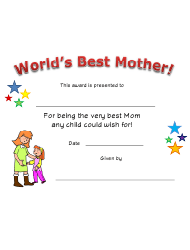 World's Best Mother Certificate Template