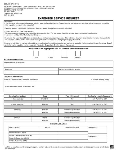 Form CSCL/CD-272  Printable Pdf
