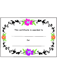 Kids Award Certificate Template - Color Flowers And Black Leaves