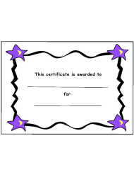 Kids Award Certificate Template With Stars And Black Borders