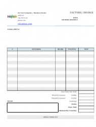Basic Service Invoice Template (English, French)