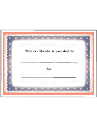 Kids Award Certificate Template - Red And Blue Border