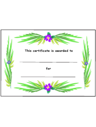 Kids Award Certificate Template - Purple Flowers With Green Leaves