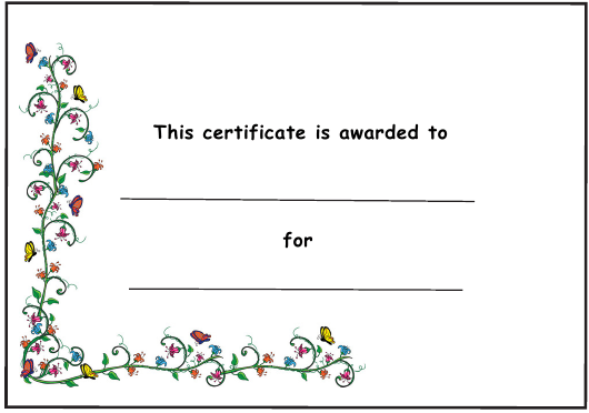 """Award Certificate Template - Small Butterflies and Flowers"" Download Pdf"