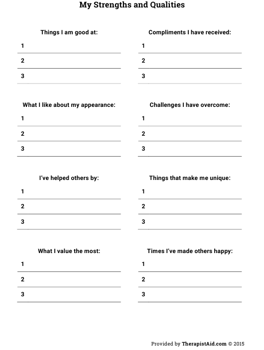 """""""Strengths and Qualities Self Assessment Template"""" Download Pdf"""