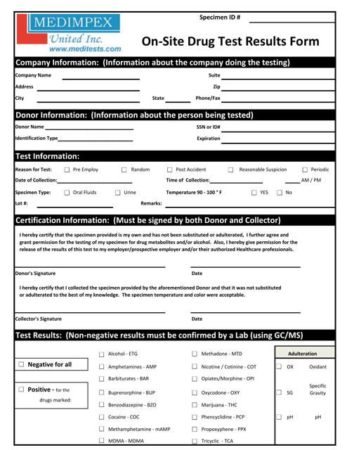 """""""On-Site Drug Test Results Form - Medimpex United Inc."""" Download Pdf"""