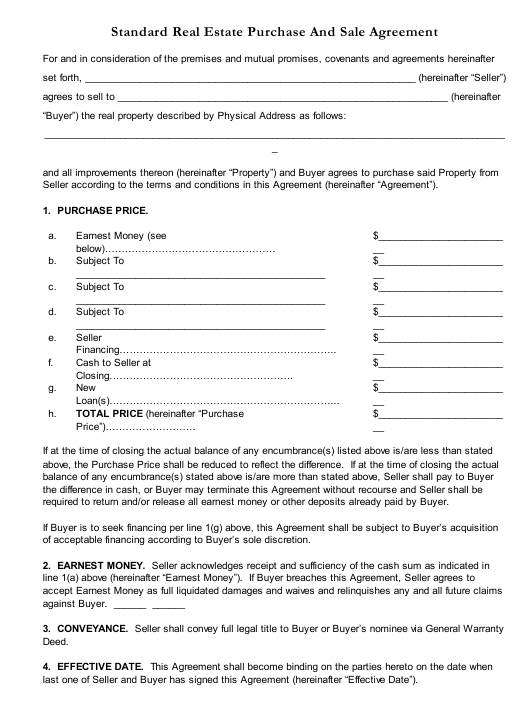 Standard Real Estate Purchase and Sale Agreement Template Download Pdf