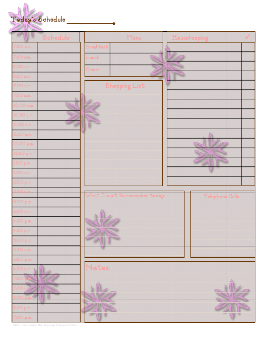 """Pink Daily Schedule Template"" Download Pdf"