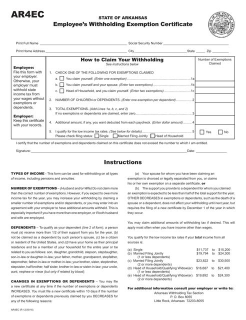 Form AR4ec Printable Pdf