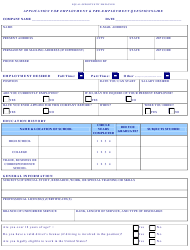 Application for Employment & Pre-employment Questionnaire - Equal Opportunity Employer