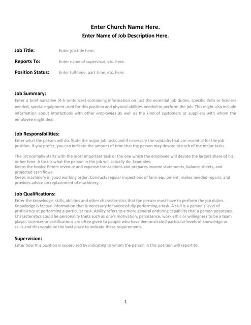 church job description template download printable pdf templateroller
